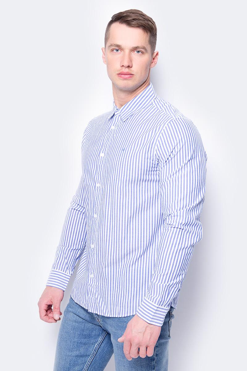 Рубашка мужская Calvin Klein Jeans, цвет: белый, синий. J30J307021_9010. Размер XL (50/52) куртка мужская calvin klein jeans цвет синий j30j306966 4020 размер xl 50 52