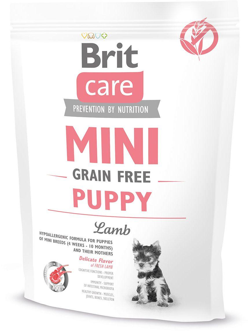 Корм сухой беззерновой Brit Care Mini Grain Free Puppy для щенков мини-пород, ягненок, 400 г520145Сухой беззерновой гипоаллергенный корм для щенков миниатюрных пород (от 2 недель до 10 месяцев) и кормящих сук.Полнорационный корм для собак.Миниатюрные породы собак, в силу своих небольших размеров, более других подвержены негативному влиянию окружающей среды: дорожная пыль, токсины и микробы. Поэтому важно заботиться о естественных защитных барьерах организма с самого рождения: кожа, шерсть, иммунитет слизистой оболочки, клеточный иммунитет. Все это учитывалось при создании кормов Brit Care Mini. Формула для щенков Brit Care Mini Puppy помогает в формировании крепкого естественного иммунитета, снабжает организм необходимыми питательными веществами и витаминами для здорового роста и развития.- Отсутствие зерновых – снижение нагрузки на пищеварительный тракт, стабилизация уровня сахара в крови.- Свежее мясо ягненка (без костей) – очень вкусное и легкоусвояемое.- Пребиотики – улучшение пищеварения.- Ромашка, гвоздика, шалфей, водоросли Ascophyllum nodosum – профилактика зубного камня.- Голубика, источник флавоноидов и полифенолов – антистрессовое воздействие, поддержка сердца.Гранулы 0,5 см.Состав: мука из мяса ягненка (35%), белок из свежего ягненка (20%), желтый горох, куриный жир (консервирован токоферолами), нут, льняное семя (5%), рыбий жир из лосося (3%), гречиха, сушеное яблоко, пивные дрожжи, водоросли (0,5%, Ascophyllum nodosum), гидролизованные панцири ракообразных (источник глюкозамина, 290 мг/кг), голубика (250 мг/кг, источник полифенолов 75 мг/кг и флавоноидов 35 мг/кг), хрящевой экстракт (источник хондроитина, 180 мг/кг), маннан-олигосахариды (170 мг/кг), травы и фрукты (розмарин, цитрусовые, куркума, 160 мг/кг), фрукто-олигосахариды (110 мг/кг), юкка (Yucca schidigera) (110 мг/кг), инулин (100 мг/кг), молочный чертополох (80 мг/кг), облепиха крушинная (80 мг/кг), ромашка (35 мг/кг), гвоздика (35 мг/кг), шалфей (30 мг/кг). Аналитический состав: сырой белок 