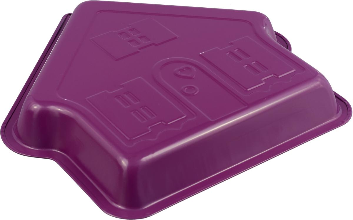 """Форма для выпечки Доляна """"Дом. Флери"""", с керамическим покрытием, цвет: фуксия, 30 х 4 см"""