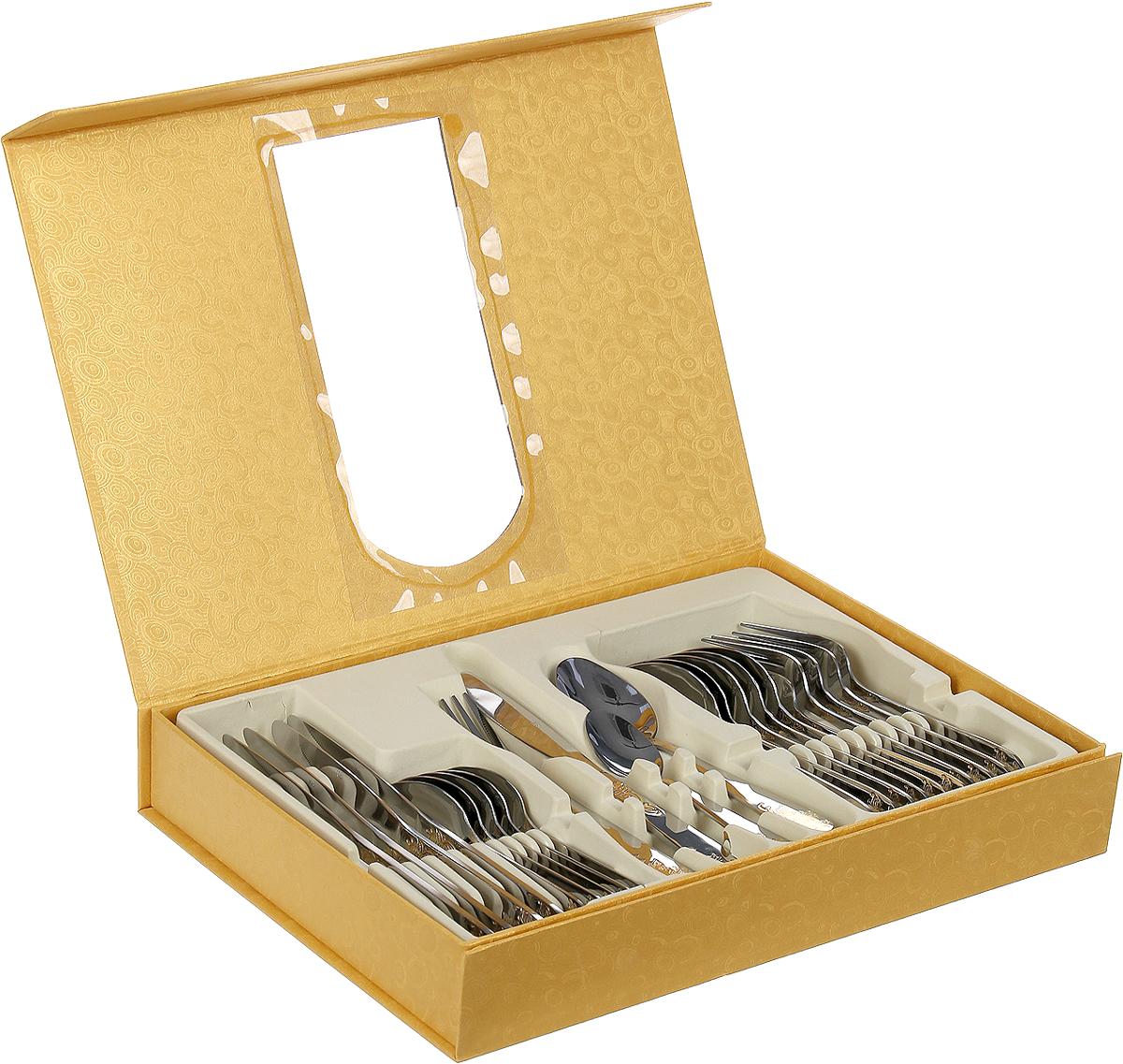 """Набор столовых приборов """"Mayer & Boch"""" на 6 персон включает в себя 24 предмета: 6 столовых ложек, 6 вилок, 6 ножей и 6 чайных ложек. Приборы изготовлены из высококачественной нержавеющей стали, ручки приборов имеют глянцевую полировку и декорированы изящным золотым орнаментом. Благодаря качественной полировке изделия сохраняют прекрасный внешний вид на долгое время. Набор обладает не только оригинальным дизайном, но и практичностью, так как изделия из качественной нержавеющей стали имеют высокую прочность, устойчивость к коррозии, кроме того, нержавеющая сталь экологична, она не меняет вкусовые свойства еды, потому как не вступает в реакцию с ее компонентами. Упакованный в красочную подарочную коробку такой набор безусловно станет прекрасным подарком для любой хозяйки и украсит ваш праздничный стол."""