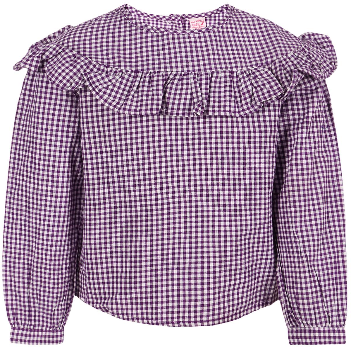 Блузка для девочки Sela, цвет: фиолетовый. Tw-512/278-8112. Размер 116 юбка для девочки sela цвет ярко фиолетовый skk 518 312 8112 размер 104 4 5 лет