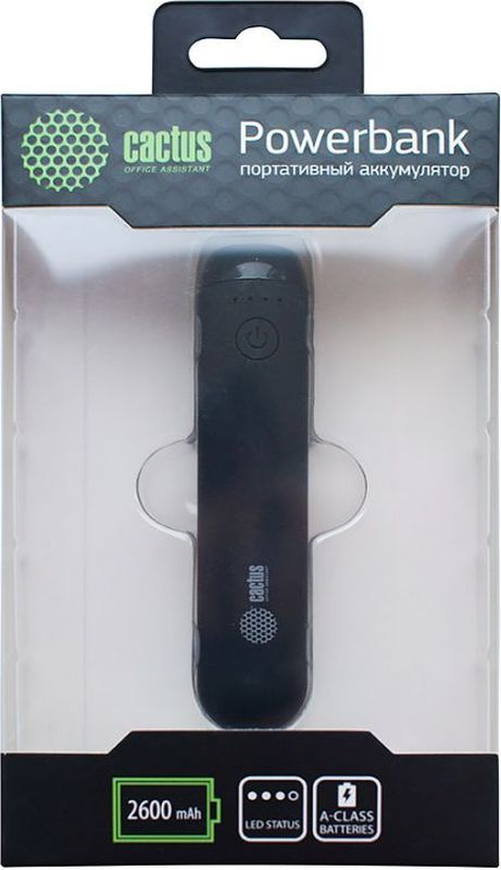 Cactus CS-PBHTST-2600, Black внешний аккумулятор (2600 мАч)
