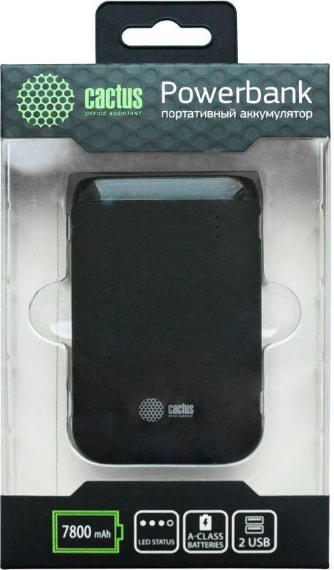 Cactus CS-PBHTST-7800, Black внешний аккумулятор (7800 мАч)CS-PBHTST-7800Мобильный аккумулятор Cactus CS-PBHTST-7800 Li-Ion 7800mAh 2.4A+2.4A черный 2xUSB