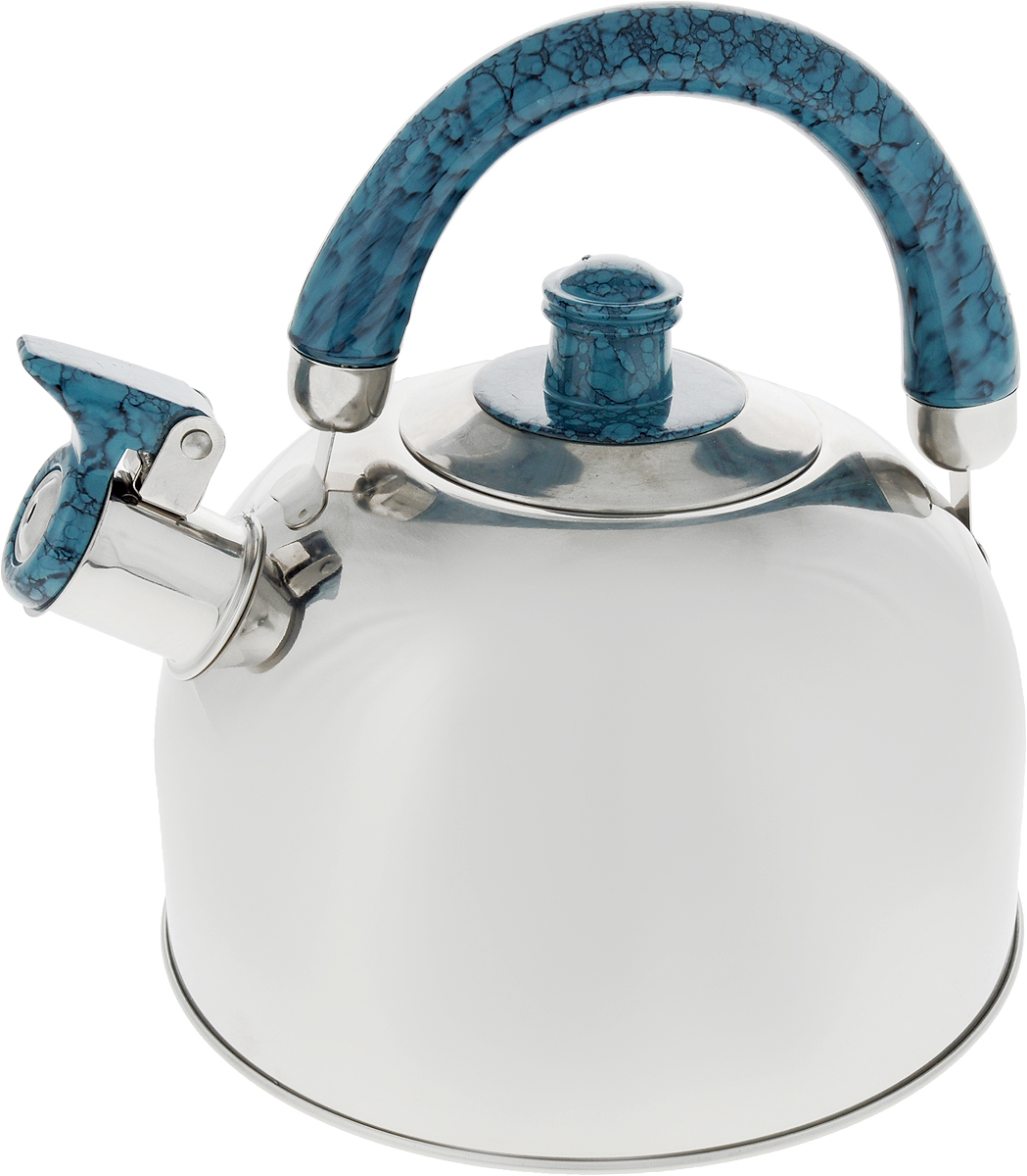 Чайник Bekker, со свистком, цвет: стальной, голубой, 2,5 л. BK-S307M чайник кмк 2 л голубой со свистком