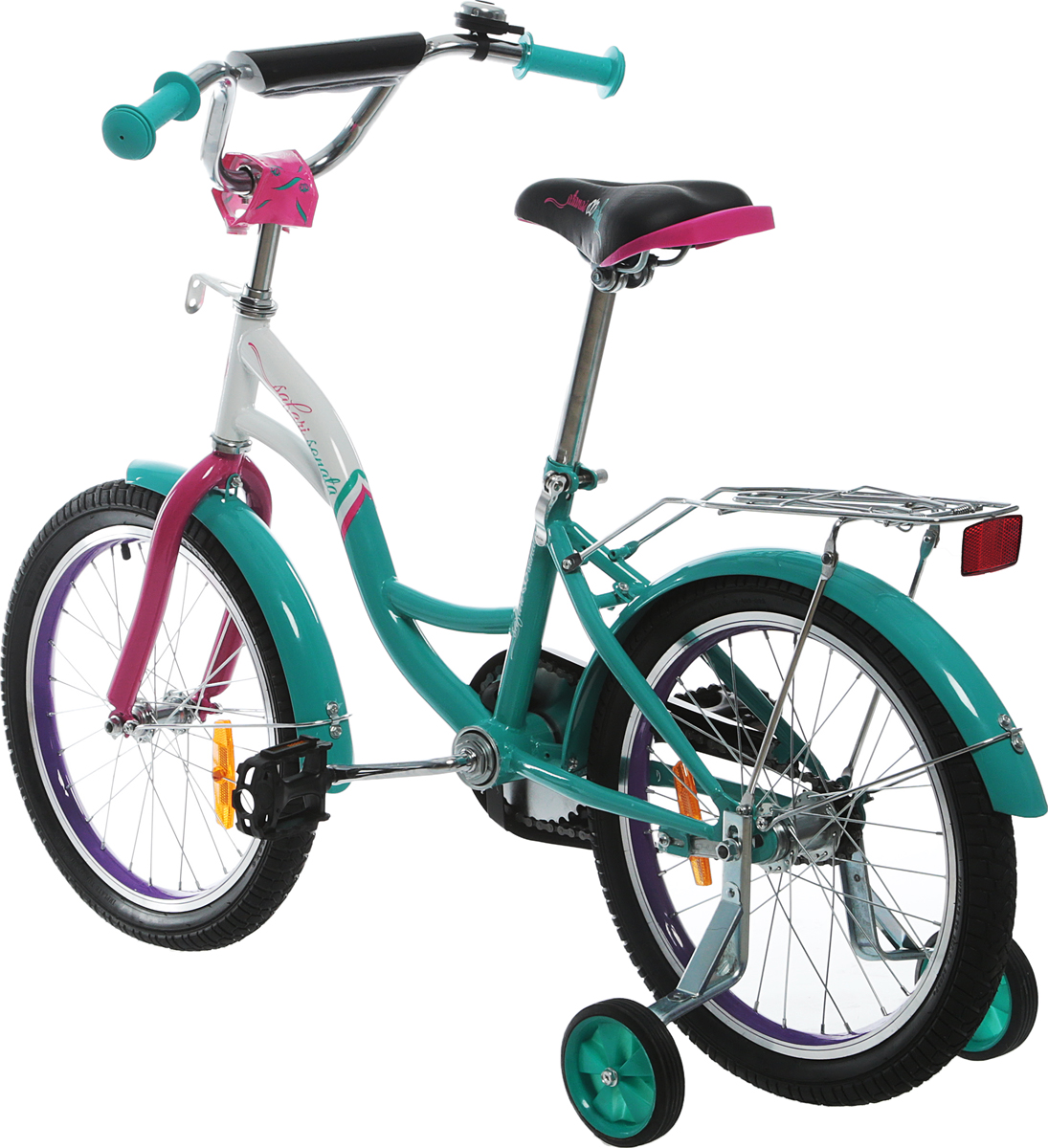 Аргоновая облегченная рама, багажник, алюминиевый облегченный обод колес, хорошо выдерживает ударную нагрузку, защищает от восьмерок; защита цепи, катафоты, боковые пластиковые колеса, ограничитель поворота руля, мягкие накладки на руле.