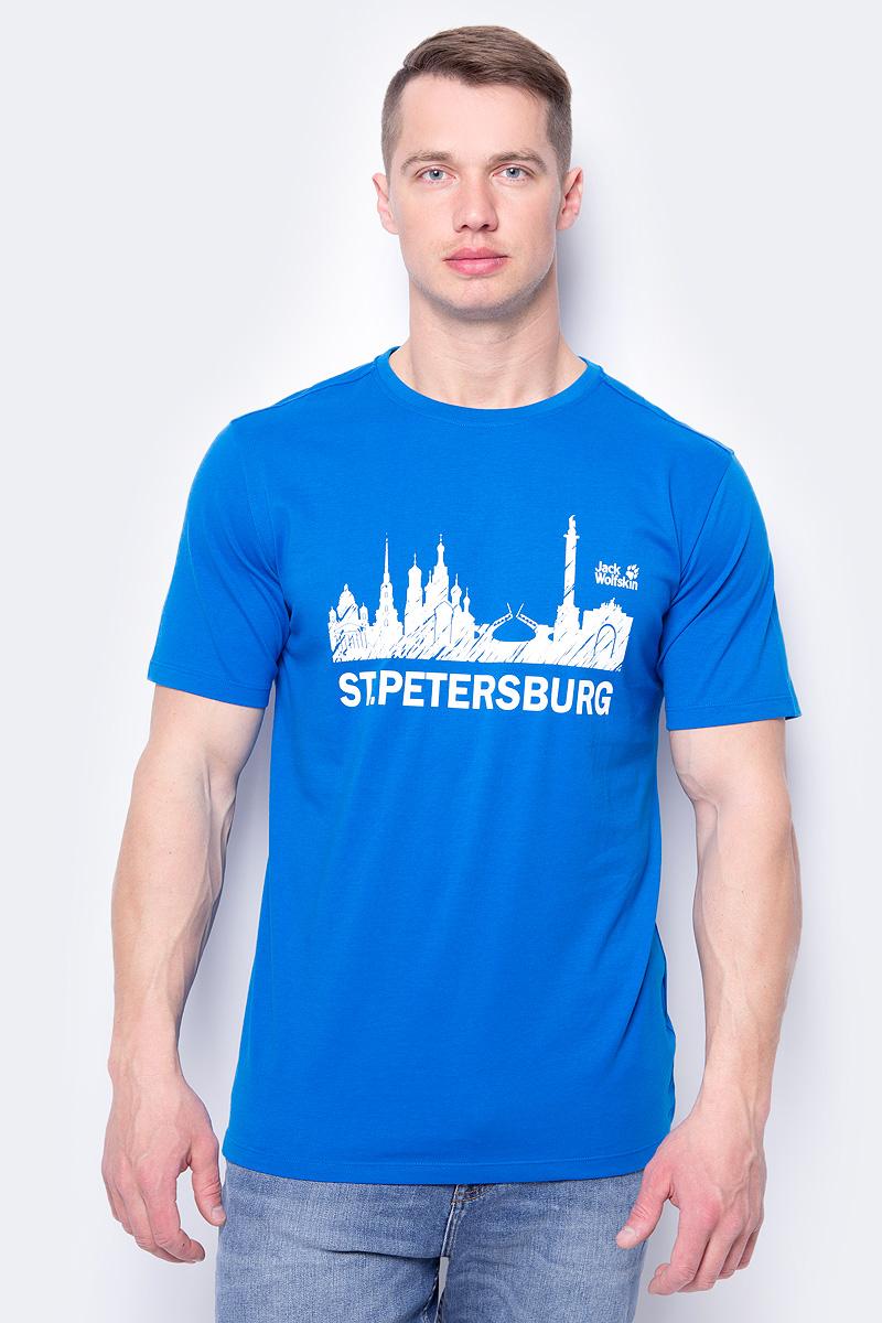 Футболка мужская Jack Wolfskin St Petersburg, цвет: синий. 5017141-1062. Размер XL (52) олимпийка jack wolfskin jack wolfskin ja021egwhz90