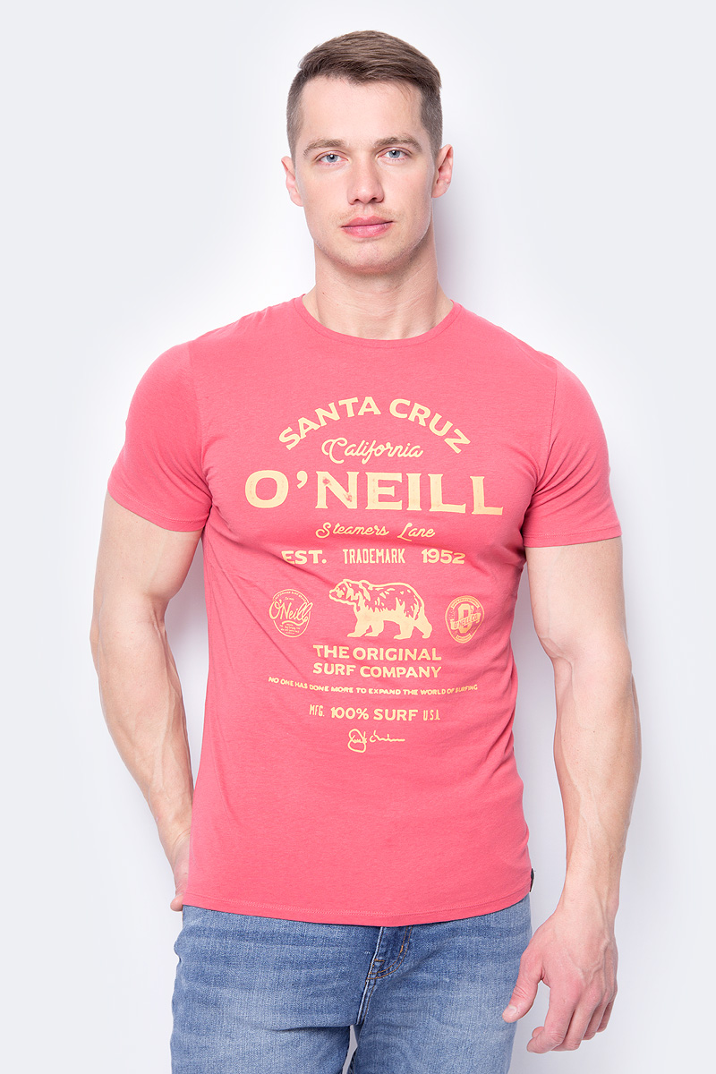 Футболка мужская ONeill Lm Muir T-Shirt, цвет: красный. 8A2379-3063. Размер M (48/50)8A2379-3063Футболка от ONeill выполнена из натурального хлопкового трикотажа. Модель с короткими рукавами и круглым вырезом горловины спереди оформлена принтом с логотипом бренда.
