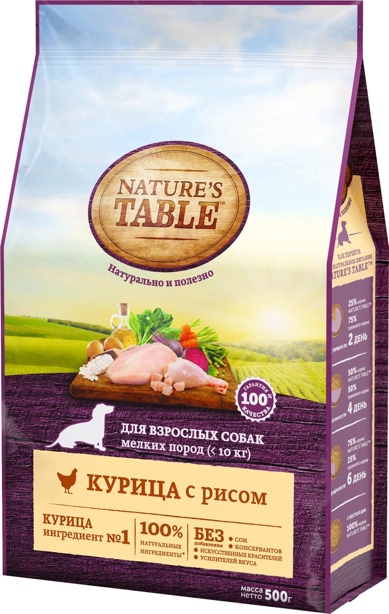 Корм сухой Natures Table, для взрослых собак мелких пород, курица с рисом, 500 г81956Nature`s Table™. Натурально и полезно!Рацион для взрослых собак мелких пород Nature`s Table™ Курица с рисом содержит на 100% натуральные ингредиенты самого высокого качества, получаемые от проверенных поставщиков: - ингредиент №1 – курица – источник животного белка с высокой усвояемостью, является основой здорового рациона собаки; - подсолнечное масло и рыбий жир – источники омега-3 и омега-6 кислот, витаминов А, D, E для поддержания естественного здоровья кожи и блестящей шерсти; - натуральные овощи и злаки содержат легкоусвояемые углеводы, минералы и витамины группы В для здорового пищеварения и поддержания микрофлоры кишечника; - БЕЗ сои, искусственных красителей, усилителей вкуса и консервантов.Nature`s Table™. Вся польза природы – для вашей собаки, чтобы она радовала вас здоровьем и красотой каждый день! Nature`s Table™. Сухой полнорационный корм, предназначенный специально для взрослых собак мелких пород старше 1 года.Рекомендации по дневной норме питания, при условии кормления только сухим кормом: - вес взрослой собаки 2 кг – 42 г; - вес взрослой собаки 3 кг – 57 г; - вес взрослой собаки 4 кг – 70 г; - вес взрослой собаки 5 кг – 82 г; - вес взрослой собаки 6 кг – 95 г; - вес взрослой собаки 7 кг – 106 г; - вес взрослой собаки 8 кг – 117 г; - вес взрослой собаки 9 кг – 128 г; - вес взрослой собаки 10 кг – 139 г;При переходе на натуральное питание Nature`s Table™ для взрослых собак миниатюрных и мелких пород старше 1 года, постепенно вводите его в рацион собаки в течение 6 дней. Мы рекомендуем кормить Вашу собаку 2 раза в день. Разделите дневную норму, указанную выше, на количество кормлений в день. Индивидуальная норма кормления Вашей собаки может изменяться, в зависимости от ее возраста, условий содержания, темперамента и активности. У Вашей собаки всегда должен быть доступ к свежей питьевой воде. Состав:курица, пшеница, кукуруза, рис, бульон, масла и жиры (животный жир, подс