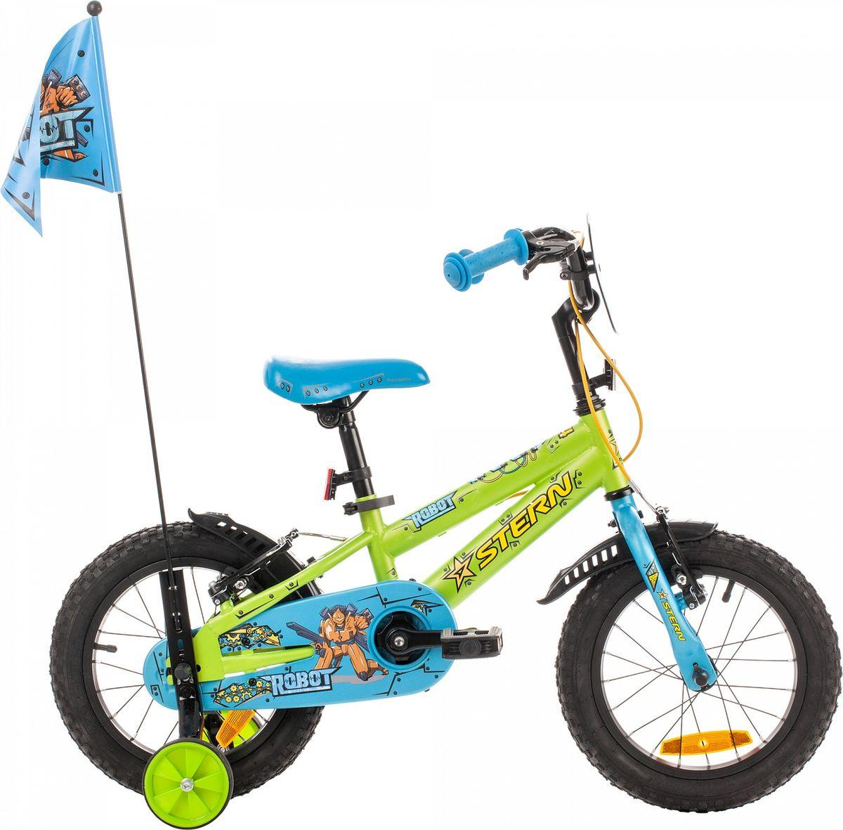 Велосипед детский Stern Robot, цвет: зеленый, голубой, оранжевый, колесо 1416ROB14Улучшенная модель детского велосипеда. Набор красивых и функциональных аксессуаров не оставит юных велосипедистов равнодушными. Модель рассчитана на возраст 3-5 лет и рост 99-115 см. На велосипеде установлен комплект тормозов типа V-brake, ограничитель поворота руля, защита цепи и светоотражатели. Комплектация включает функциональную трансмиссию: педали можно прокрутить назад и нажать на них в любом положении. В комплект входят переднее и заднее крылья, а также съемные боковые колеса для обучения езде.В модели предусмотрена надежная стальная рама Hi-TEN STEEL.