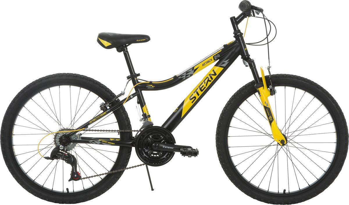 Велосипед детский Stern Attack, цвет: черный, желтый, колесо 24 stern велосипед горный stern dynamic fs 1 0 26