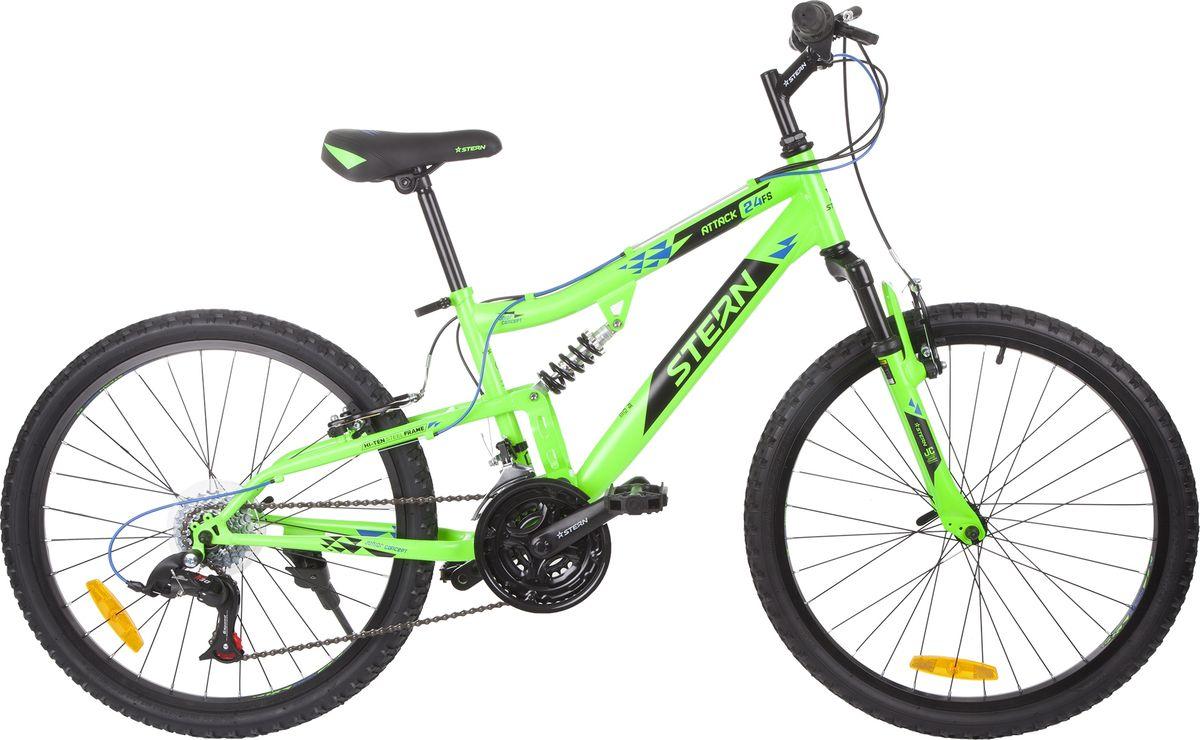 Велосипед детский Stern Attack, цвет: черный, зеленый, колесо 24