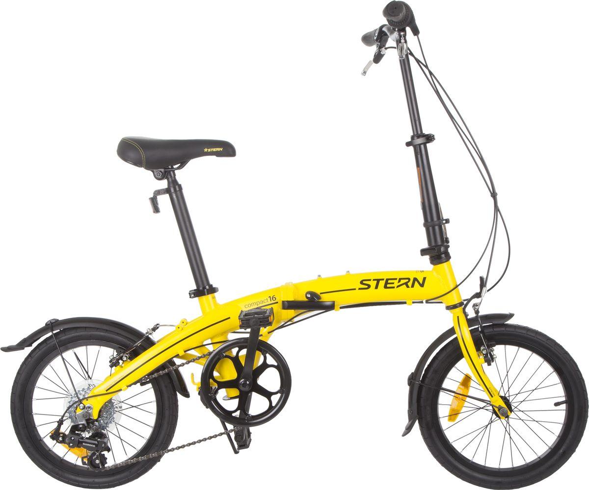 Велосипед складной Stern Compact, цвет: желтый, черный, колесо 1617COMP16Максимально компактный складной велосипед с 16-дюймовыми колесами. Модель подходит как для взрослого велосипедиста, так и для подростка. Максимально компактный велосипед со складной конструкцией рамы, руля и педалей. Велосипед имеет 6 скоростей, что позволяет выбрать оптимальный режим катания. Рама 6061 ALUMINIUM обеспечивает небольшой вес модели. В комплект входят крылья для защиты от грязи.