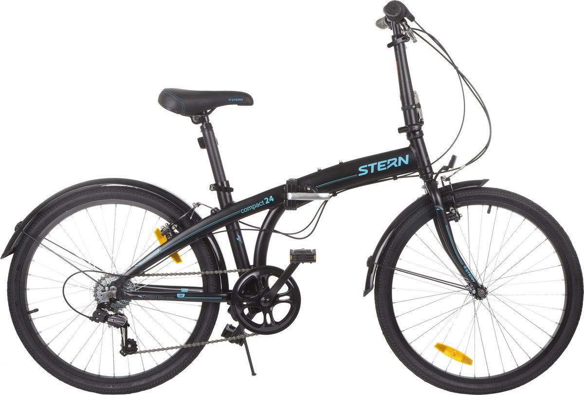 Велосипед складной Stern Compact, цвет: черный, синий, колесо 2417COMP24Складной велосипед с хорошим накатом - новый Compact 24. Несмотря на увеличенный размер колес, модель компактно складывается благодаря конструкции рамы, руля и педалей. Велосипед имеет 7 скоростей, что позволяет выбрать оптимальный режим катания. Рама 6061 ALUMINIUM обеспечивает низкий вес модели. В комплект входят крылья для защиты от грязи.
