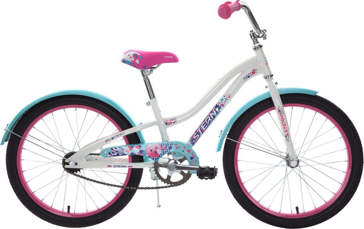 Велосипед детский Stern Fantasy, цвет: белый, розовый, колесо 2018FAN20Детский велосипед Fantasy 20 для девочек 6-9 лет. Модель разработана в соответствии с особенностями детской анатомии и подойдет для роста 119-141 см.Ограничитель поворота руля, защита цепи и подушка на руле для безопасного катания.Велосипед оснащен крыльями и подножкой.В модели использована эргономичная стальная рама Hi-TEN STEEL.Предусмотрена удобная регулировка седла под рост ребенка.