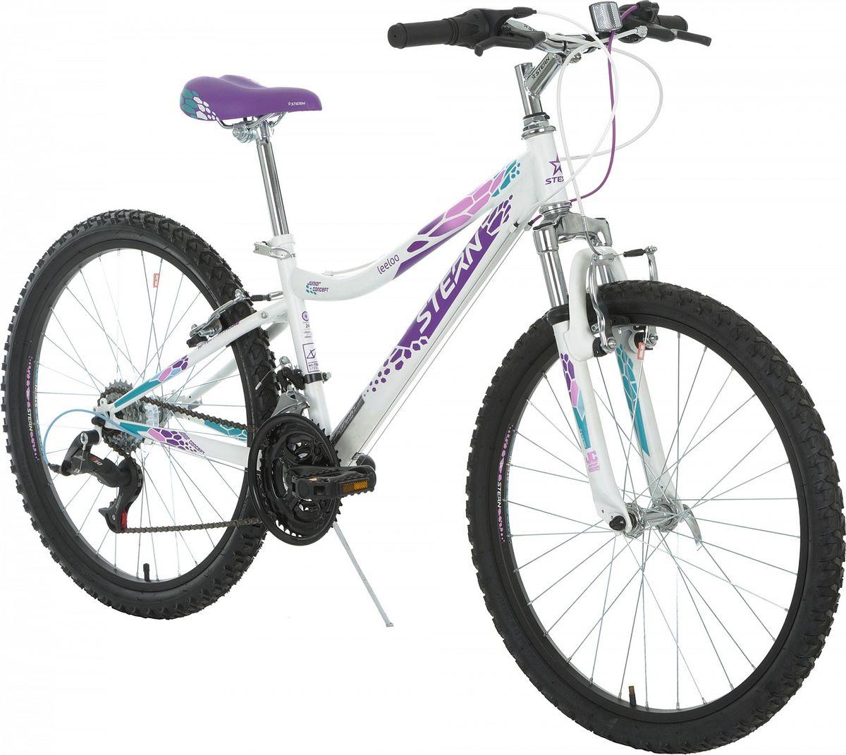 """Горный велосипед Leeloo 24 разработан специально для девочек 6-9 лет. 6 скоростей позволяют выбирать оптимальную нагрузку. Амортизационная вилка с ходом 30 мм для комфортного передвижения как по ровной дороге, так и по пересеченной местности. В комплект входит подножка для удобной """"парковки"""". В модели использована надежная стальная рама Hi-TEN STEEL. Ободные тормоза сделают катание безопаснее. Предусмотрена удобная регулировка седла под рост ребенка."""