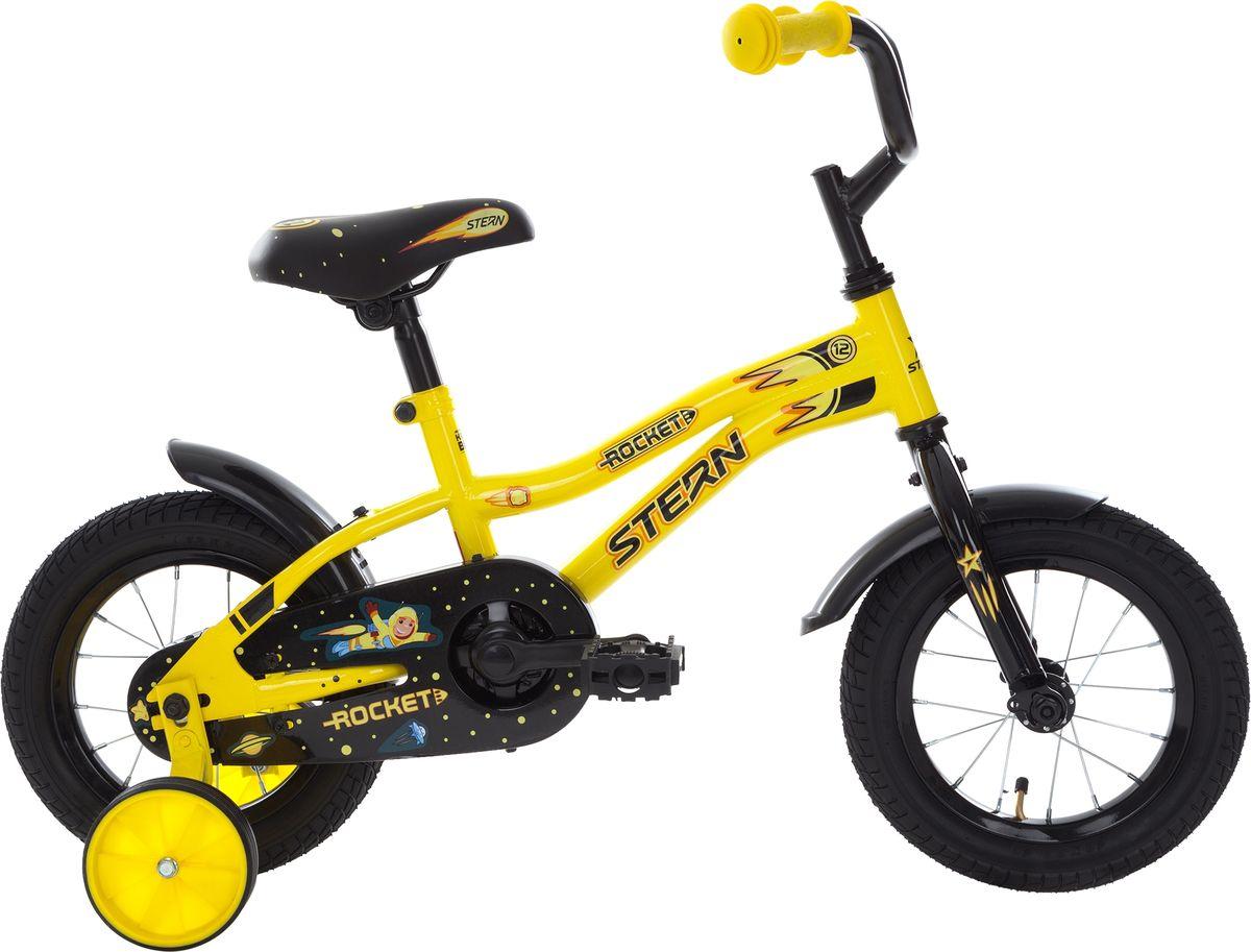 Велосипед детский Stern Rocket, цвет: черный, желтый, колесо 1218ROC12Детский велосипед с прочной рамой и колесами размеров 12 дюймов подойдет ребятам младшего возраста. Забавный дизайн приведет в восторг маленьких велосипедистов. Модель для детей 3-4 лет ростом 89-114 см.На велосипед установлены ограничитель поворота руля и защита цепи.В комплект входят переднее и заднее крылья, а также съемные боковые колеса для обучения езде.В модели предусмотрена надежная стальная рама Hi-TEN STEEL.