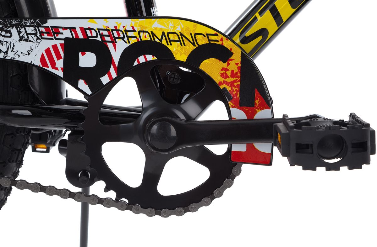 Детский велосипед Rocket 20 для мальчиков 6-9 лет.На велосипед установлены ограничитель поворота руля, защита цепи и подушка на руле.В комплект входят переднее и заднее крыло и подножка.В модели предусмотрена надежная стальная рама Hi-TEN STEEL.Предусмотрена удобная регулировка седла под рост ребенка.