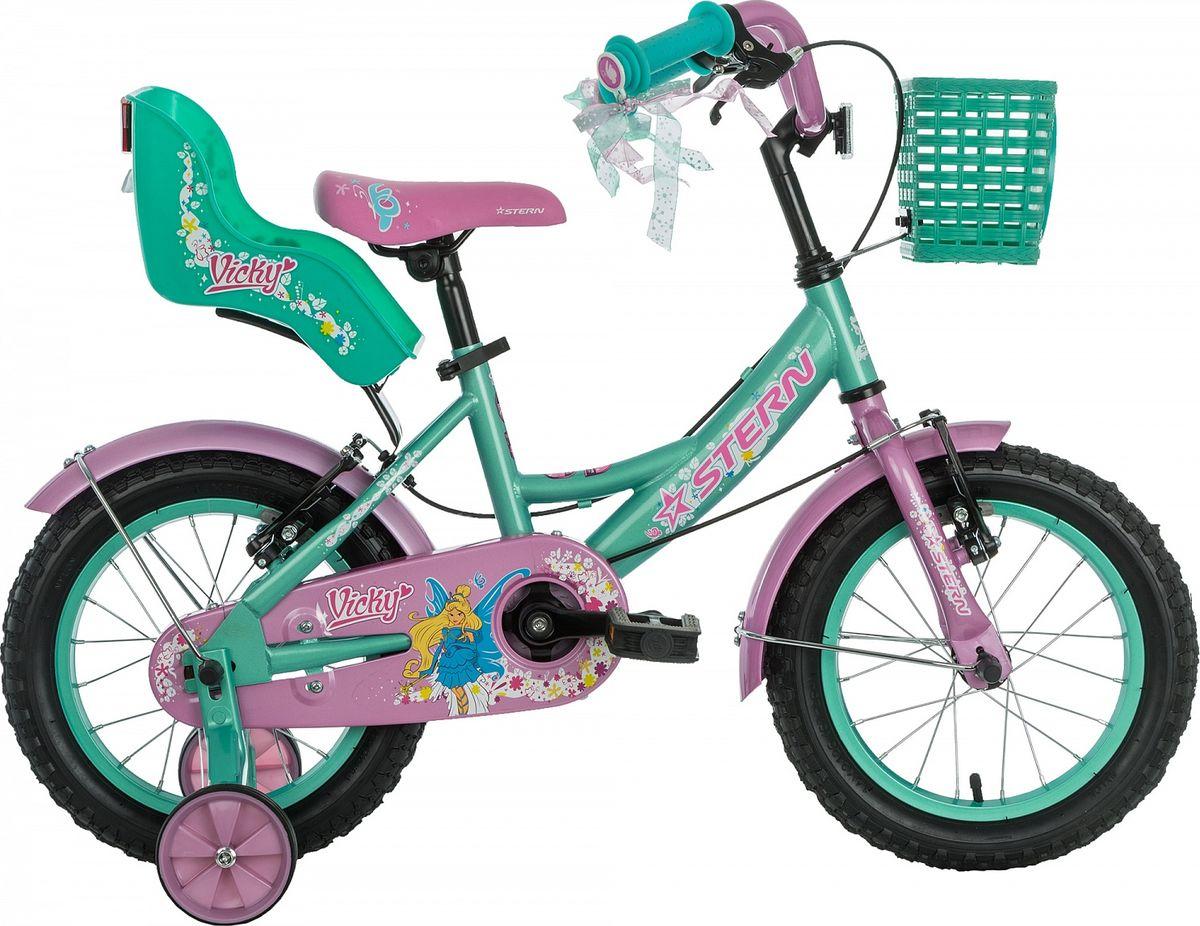 Велосипед детский Stern Vicky, цвет: зеленый, розовый, колесо 1418VIC1414Улучшенная модель детского велосипеда. Набор красивых и функциональных аксессуаров не оставит юных велосипедистов равнодушными. Модель рассчитана на возраст 3-5 лет и рост 99-115 см. На велосипеде установлен комплект тормозов типа V-brake, ограничитель поворота руля, защита цепи и светоотражатели. Комплектация включает функциональную трансмиссию: педали можно прокрутить назад и нажать на них в любом положении. В комплект входят переднее и заднее крылья, а также съемные боковые колеса для обучения езде.В модели предусмотрена надежная стальная рама Hi-TEN STEEL.