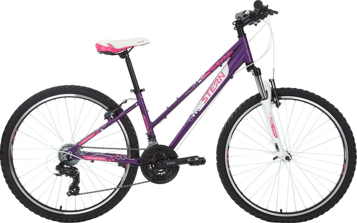 Велосипед горный Stern Mira 1.0, цвет: фиолетовый, белый, рама 16, колесо 2618MIRA116Женский горный велосипед для активного отдыха с удобным седлом и надежными ободными тормозами. Трансмиссия Shimano Tourney и удобные шифтеры EZ-Fire Shimano обеспечат точное переключение 21 скорости. Амортизационная вилка с ходом 80 мм для комфортного передвижения как по ровной дороге, так и по пересеченной местности. Рама 6061 Aluminium со специальными сечением Bi-Axial Tubing и формой труб Optimized Cycling Geometry. Модель с заниженной верхней трубой разработана специально для женщин. Надежная рама и двойные алюминиевые обода выдерживают вес до 110 кг.