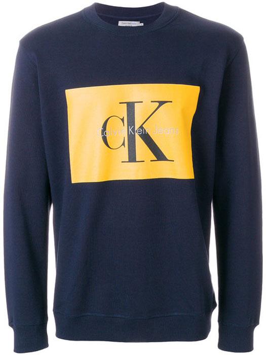 Купить Свитшот мужской Calvin Klein Jeans, цвет: синий. J30J306988_4020. Размер M (46/48)
