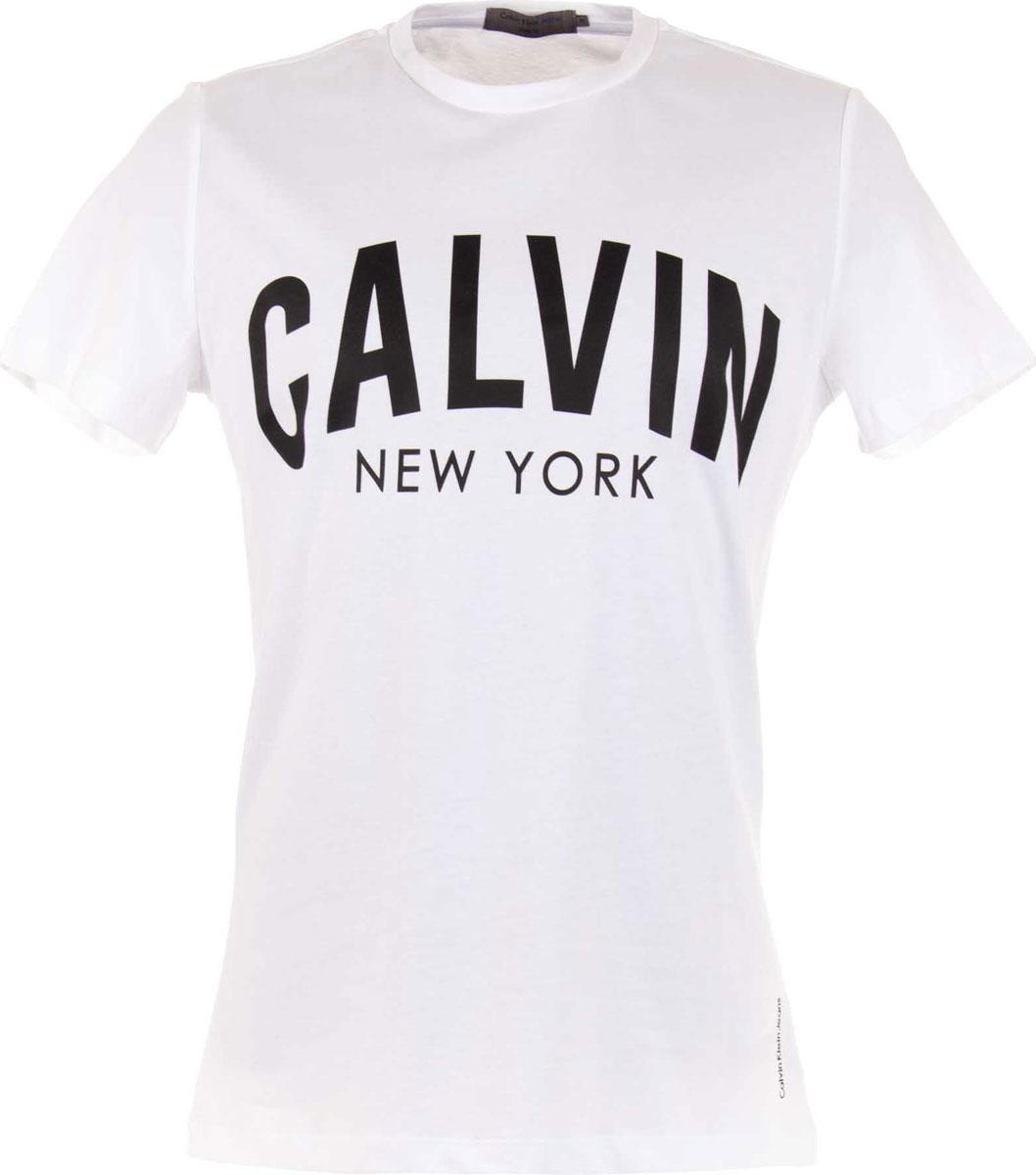 Футболка мужская Calvin Klein Jeans, цвет: белый. J30J306909_1120. Размер XXL (52/54) куртка мужская calvin klein jeans цвет синий j30j305551 4020 размер xxl 52 54