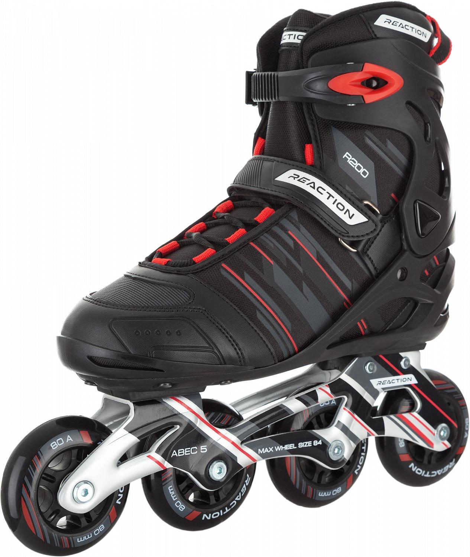 Коньки роликовые мужские Reaction 208 M Mens Inline Skates, цвет: черный, серый. Размер: 45R207MBA45Роликовые коньки Reaction. Рама из алюминия ALU FRAME рассчитана на большие нагрузки. Модель оснащена мягкими полиуретановыми колесами 80 мм. Европейский сертификат качества EN 13843:2009. На модель действует гарантия сроком 2 года.