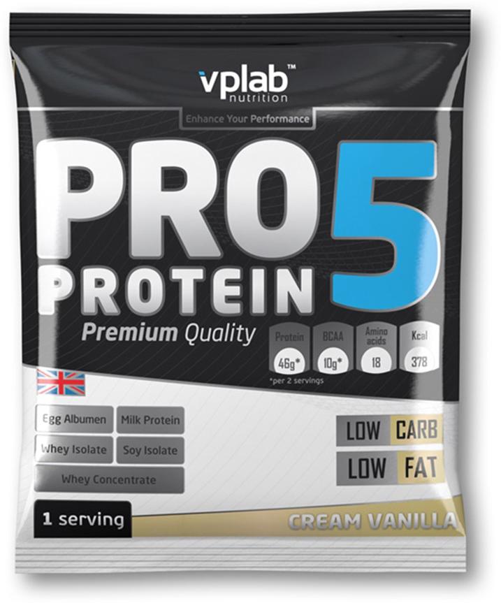 Протеин VP Laboratory ПРО 5, ваниль, крем, 30 гVP191075-1PRO 5 - пятикомпонентная белковая смесь. Концентрация 80%. У каждого из этих белков своя скорость усвоения, что способствует постоянному и равномерному поступлению аминокислот в кровь на протяжение более чем пяти часов! Этот протеиновый коктейль создан как дополнение к питанию с целью увеличения количества белка в дневном рационе. Для нормальной работы всех систем организма человеку требуется 2-4 г белка на килограмм веса в сутки!Молочный белок (казеин): снабжает мышцы протеином в течение долгого времени, содержит Л-глютамин.Концентрат сывороточного протеина: быстроусваиваемый протеин с высоким содержанием ВСАА, повышает количество свободных аминокислот в крови.Изолят соевого протеина: наилучший растительный протеин высшей очистки, не содержит ГМО.Изолят сывороточного протеина: высококачественный белок с наивысшей биологической ценностью и функциональной многосторонностью.Яичный белок (альбумин): натуральный гидролизованный яичный белок высокой биологической ценности.В PRO 5 очень низкое количество жиров и углеводов, что в сочетании с пятикомпонентным высококачественным белком делает его отличным компонентом любой тренировочной программы.Рекомендации по применению: PRO 5 целесообразно применять между приемами пищи, после тренировки и на ночь. Постоянное поступление аминокислот очень важно для построения мускулатуры!Рекомендации по приготовлению: 30 г порошка (2 столовые ложки, коктейль должен быть густым) растворить в 300 мл молока до 1,5% жирности.молочный белок, концентрат сывороточного протеина, изолят соевого протеина, изолят сывороточного белка, яичный белок, ароматизатор, карбоната магния, загуститель: гуаровая смола, краситель, соль, цикламат натрия и сахарин натрия, витамины, минералы.