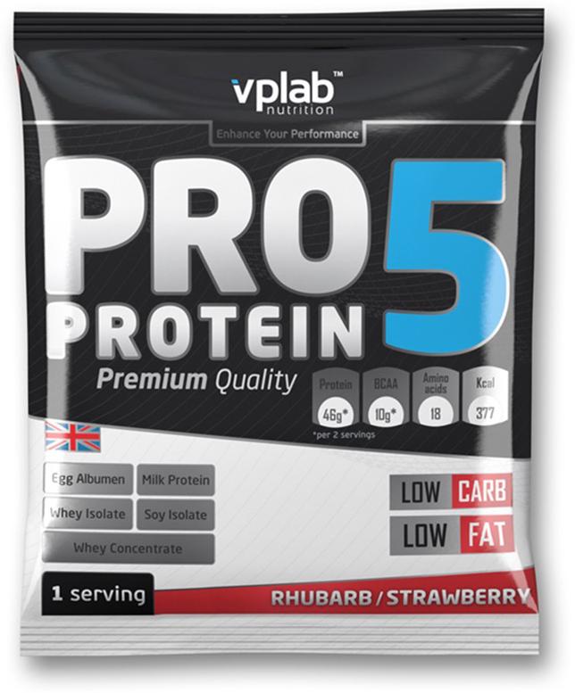 Протеин VP Laboratory ПРО 5, клубника, 30 гVP191077-1PRO 5 - пятикомпонентная белковая смесь. Концентрация 80%. У каждого из этих белков своя скорость усвоения, что способствует постоянному и равномерному поступлению аминокислот в кровь на протяжение более чем пяти часов! Этот протеиновый коктейль создан как дополнение к питанию с целью увеличения количества белка в дневном рационе. Для нормальной работы всех систем организма человеку требуется 2-4 г белка на килограмм веса в сутки!Молочный белок (казеин): снабжает мышцы протеином в течение долгого времени, содержит Л-глютамин.Концентрат сывороточного протеина: быстроусваиваемый протеин с высоким содержанием ВСАА, повышает количество свободных аминокислот в крови.Изолят соевого протеина: наилучший растительный протеин высшей очистки, не содержит ГМО.Изолят сывороточного протеина: высококачественный белок с наивысшей биологической ценностью и функциональной многосторонностью.Яичный белок (альбумин): натуральный гидролизованный яичный белок высокой биологической ценности.В PRO 5 очень низкое количество жиров и углеводов, что в сочетании с пятикомпонентным высококачественным белком делает его отличным компонентом любой тренировочной программы.Рекомендации по применению: PRO 5 целесообразно применять между приемами пищи, после тренировки и на ночь. Постоянное поступление аминокислот очень важно для построения мускулатуры!Рекомендации по приготовлению: 30 г порошка (2 столовые ложки, коктейль должен быть густым) растворить в 300 мл молока до 1,5% жирности.молочный белок, концентрат сывороточного протеина, изолят соевого протеина, изолят сывороточного белка, яичный белок, ароматизатор, карбоната магния, загуститель: гуаровая смола, краситель, соль, цикламат натрия и сахарин натрия, витамины, минералы.