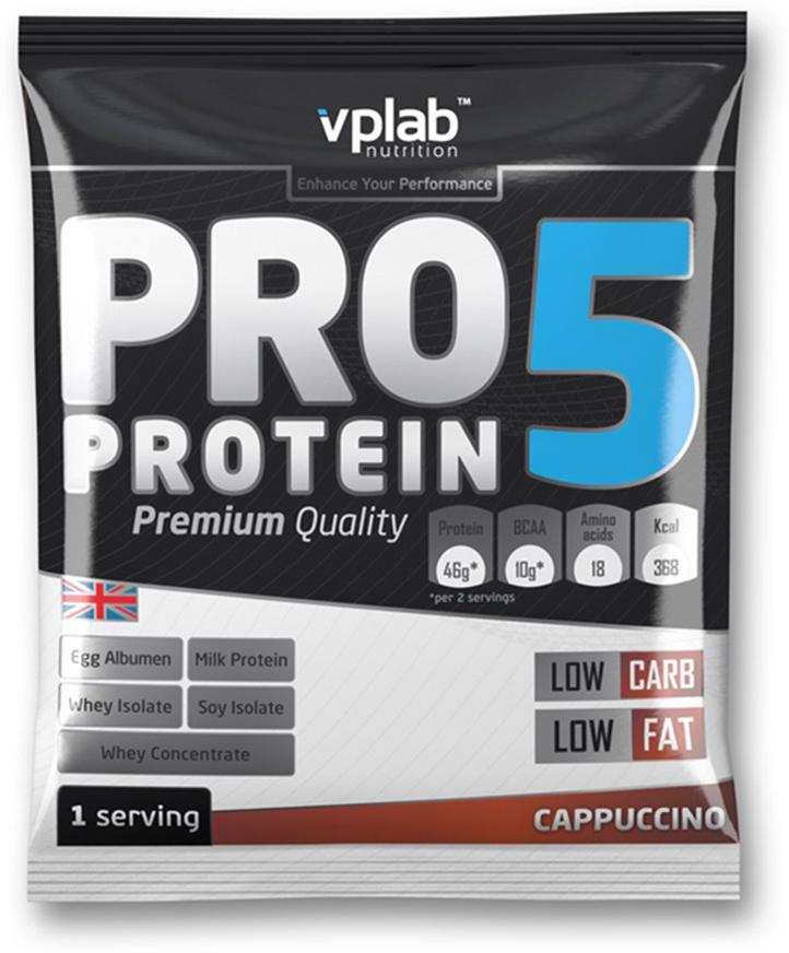 Протеин VP Laboratory ПРО 5, капучино, 30 гVP191078-1PRO 5 - пятикомпонентная белковая смесь. Концентрация 80%. У каждого из этих белков своя скорость усвоения, что способствует постоянному и равномерному поступлению аминокислот в кровь на протяжение более чем пяти часов! Этот протеиновый коктейль создан как дополнение к питанию с целью увеличения количества белка в дневном рационе. Для нормальной работы всех систем организма человеку требуется 2-4 г белка на килограмм веса в сутки!Молочный белок (казеин): снабжает мышцы протеином в течение долгого времени, содержит Л-глютамин.Концентрат сывороточного протеина: быстроусваиваемый протеин с высоким содержанием ВСАА, повышает количество свободных аминокислот в крови.Изолят соевого протеина: наилучший растительный протеин высшей очистки, не содержит ГМО.Изолят сывороточного протеина: высококачественный белок с наивысшей биологической ценностью и функциональной многосторонностью.Яичный белок (альбумин): натуральный гидролизованный яичный белок высокой биологической ценности.В PRO 5 очень низкое количество жиров и углеводов, что в сочетании с пятикомпонентным высококачественным белком делает его отличным компонентом любой тренировочной программы.Рекомендации по применению: PRO 5 целесообразно применять между приемами пищи, после тренировки и на ночь. Постоянное поступление аминокислот очень важно для построения мускулатуры!Рекомендации по приготовлению: 30 г порошка (2 столовые ложки, коктейль должен быть густым) растворить в 300 мл молока до 1,5% жирности.молочный белок, концентрат сывороточного протеина, изолят соевого протеина, изолят сывороточного белка, яичный белок, ароматизатор, карбоната магния, загуститель: гуаровая смола, краситель, соль, цикламат натрия и сахарин натрия, витамины, минералы.