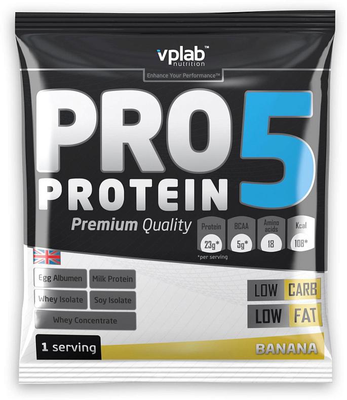 Протеин VP Laboratory ПРО 5, банан, 30 гVP1925851PRO 5 - пятикомпонентная белковая смесь. Концентрация 80%. У каждого из этих белков своя скорость усвоения, что способствует постоянному и равномерному поступлению аминокислот в кровь на протяжение более чем пяти часов! Этот протеиновый коктейль создан как дополнение к питанию с целью увеличения количества белка в дневном рационе. Для нормальной работы всех систем организма человеку требуется 2-4 г белка на килограмм веса в сутки!Молочный белок (казеин): снабжает мышцы протеином в течение долгого времени, содержит Л-глютамин.Концентрат сывороточного протеина: быстроусваиваемый протеин с высоким содержанием ВСАА, повышает количество свободных аминокислот в крови.Изолят соевого протеина: наилучший растительный протеин высшей очистки, не содержит ГМО.Изолят сывороточного протеина: высококачественный белок с наивысшей биологической ценностью и функциональной многосторонностью.Яичный белок (альбумин): натуральный гидролизованный яичный белок высокой биологической ценности.В PRO 5 очень низкое количество жиров и углеводов, что в сочетании с пятикомпонентным высококачественным белком делает его отличным компонентом любой тренировочной программы.Рекомендации по применению: PRO 5 целесообразно применять между приемами пищи, после тренировки и на ночь. Постоянное поступление аминокислот очень важно для построения мускулатуры!Рекомендации по приготовлению: 30 г порошка (2 столовые ложки, коктейль должен быть густым) растворить в 300 мл молока до 1,5% жирности.молочный белок, концентрат сывороточного протеина, изолят соевого протеина, изолят сывороточного белка, яичный белок, ароматизатор, карбоната магния, загуститель: гуаровая смола, краситель, соль, цикламат натрия и сахарин натрия, витамины, минералы.