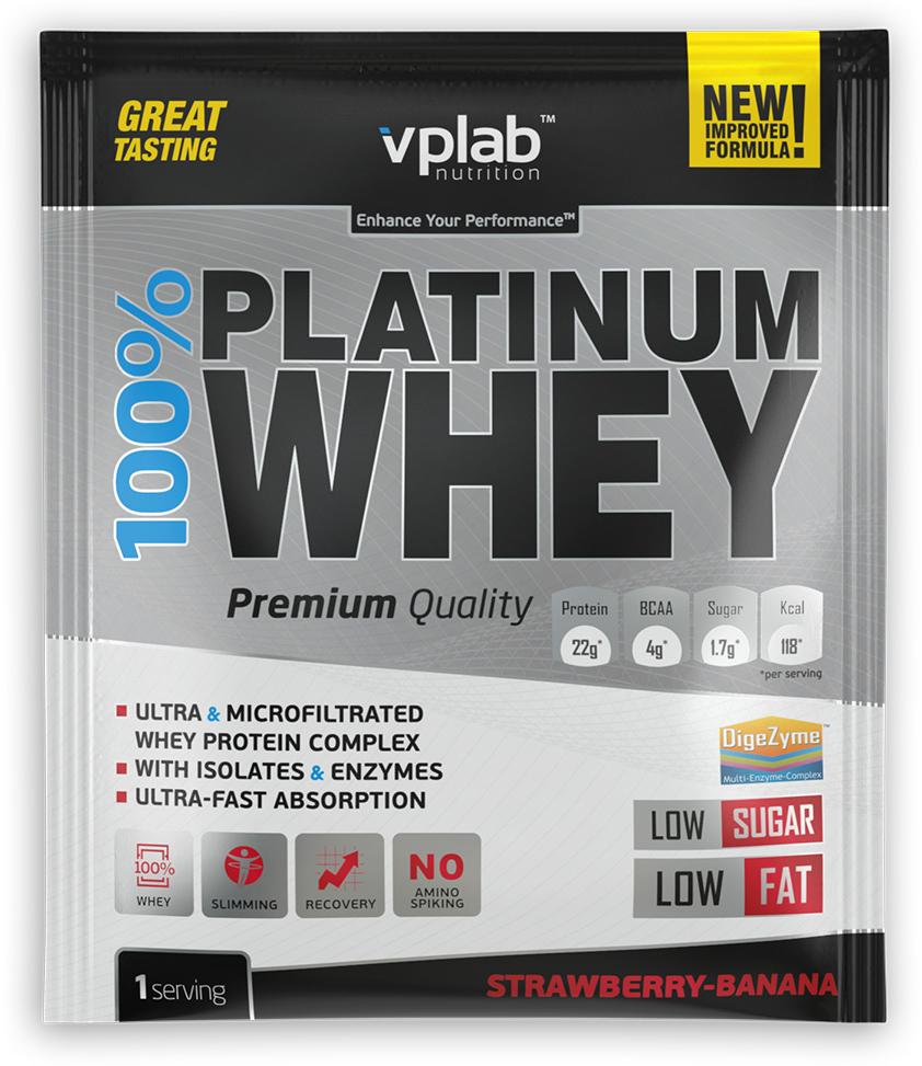 Протеин VP Laboratory 100% Платинум Вей, клубника, банан, 30 г натура биссе с с витаминный комплекс концентрата сывороточного