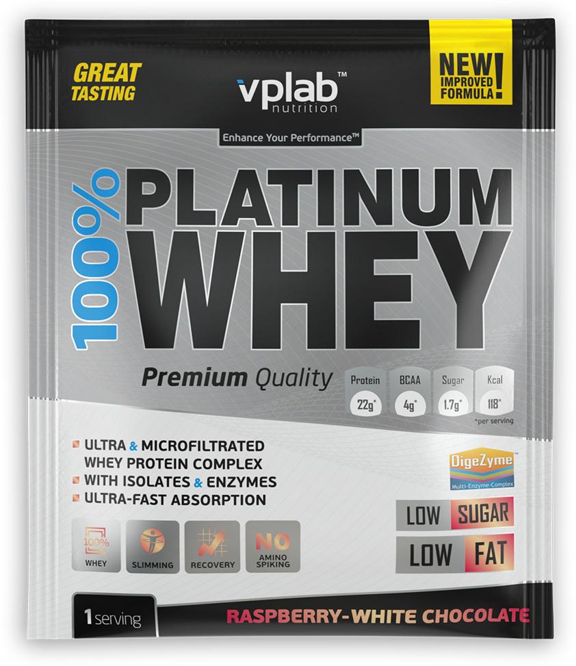 Протеин VP Laboratory 100% Платинум Вей, малина, белый шоколад, 30 г натура биссе с с витаминный комплекс концентрата сывороточного