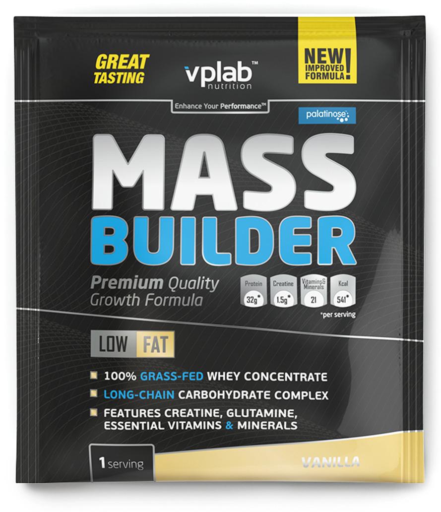 Гейнер VP Laboratory Масс Билдер, ваниль, 100 гVP55312Полноценный состав для набора качественной мышечной массы. Представляем новую улучшенную формулу популярного гейнера Mass Builder от VPLab!О продуктеMass Builder от VPLab — сбалансированная углеводно-белковая смесь, быстро завоевавшая популярность у любителей силовых видов спорта. В ее составе есть все, что необходимо для быстрого восстановления после тренировки и качественного роста мышечной массы: сывороточный протеин, сложные углеводы, витамины и минералы, а также креатин!Углеводы обеспечивают тело энергией, протеин — строительным материалом для роста мышц. Но, в отличие от большинства аналогов, в состав Mass Builder входят не просто белок и углеводы, а только качественный сывороточный белок и сложные углеводы!Преимущества нового Mass BuilderТеперь только концентрат сывороточного протеина. Никакой сои; Изомальтулоза — сложный углевод с низким гликемическим индексом; 12 витаминов; 9 минералов; 1,5 г качественного креатина моногидрата. Энергия, полученная от изомальтулозы, в сочетании с креатином, не превращается в жир, но остается в организме и питает организм в течение длительного времени.Витамины и минералы ускоряют восстановительные процессы после тяжелых нагрузок.Известно, что при физической активности потребности организма в белке возрастают примерно на 20%. Сывороточный протеин — отличается высоким содержанием белка и малым содержанием углеводов, жиров и лактозы. Он быстро усваивается и расщепляется на аминокислоты, необходимые для питания мышц и других органов.Важная деталь! Сывороточный белок в гейнере Mass Builder от VPLAB, получен из молока коров травяного откорма. Такой белок имеет наивысшую биологическую ценность, обеспечивает ускоренное восстановление организма и способствует увеличению мышечной массы.Для кого подходитНовый Mass Builder от VPLab рекомендован всем, кто нуждается в приросте массы, кто занимается спортом и просто ведет активный подвижный образ жизни Продукт восполнит нехватку питатель