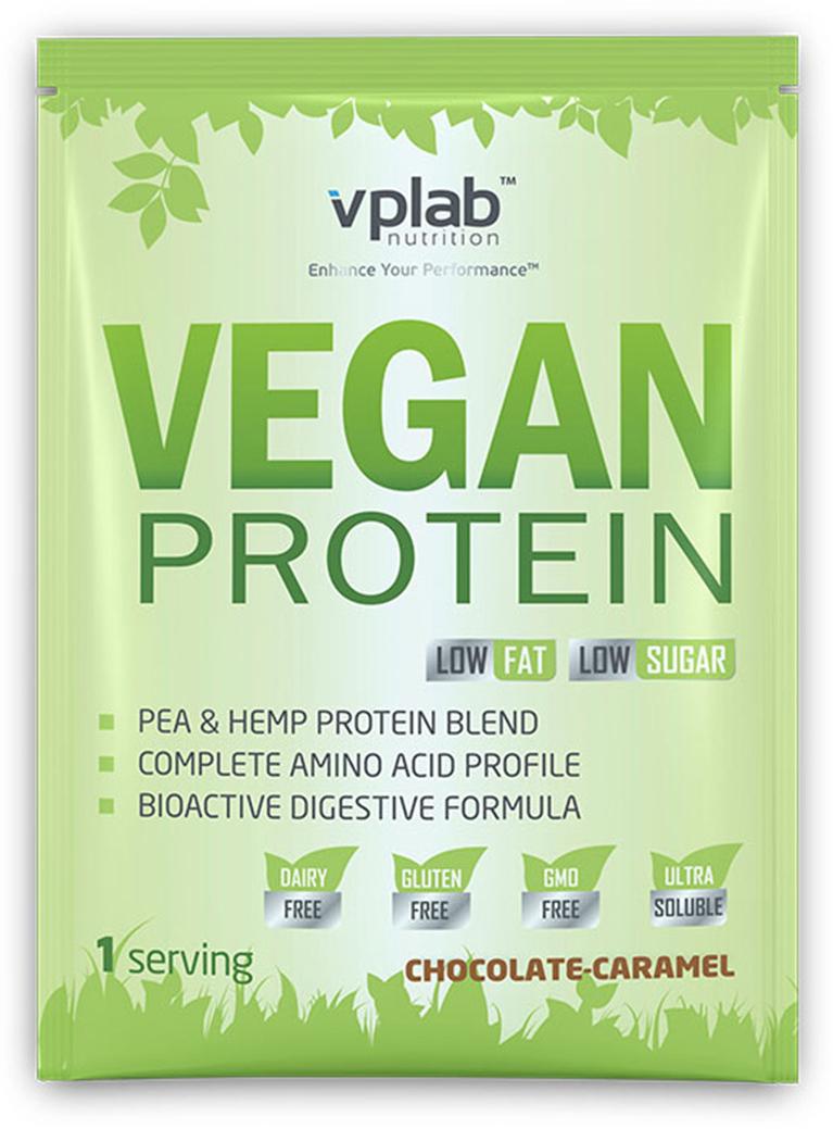 Протеин VP Laboratory Веган, шоколад, карамель, 30 гVP70330Протеин растительного происхождения. Идеален для вегетарианцев и веганов. Обладающий замечательным вкусом продукт представляет собой смесь изолята горохового протеина и конопляного протеина, что делает его полноценным и сбалансированным по аминокислотному профилю. Содержит большое количество незаменимых аминокислот (которые, как известно, организм не может синтезировать самостоятельно), в том числе 4 г BCAA на порцию.Порошок легко переваривается и отлично усваивается организмом благодаря наличию в составе комплекса пищеварительных ферментов и натурального пребиотика инулина. Не содержит ГМО, глютен, лактозу.Отлично подходит для всех, кому необходимо увеличить потребление белка в рационе питания, а также для людей, имеющих различные непереносимости пищи. Будет служить идеальным дополнением в режиме питания веганов и вегетарианцев.Рекомендации по применению: Пить сразу после тренировки или на протяжении дня, когда вам необходим прием протеина.Рекомендации по приготовлению: Размешать 30 г порошка (2 мерные ложки с горкой) в 250 мл воды.Изолят горохового протеина, ароматизатор, фруктоза, инулин, конопляный протеин, загуститель (ксантановая камедь), подсластитель (сукралоза), ферменты (лактаза, протеаза, липаза, a-амилаза).