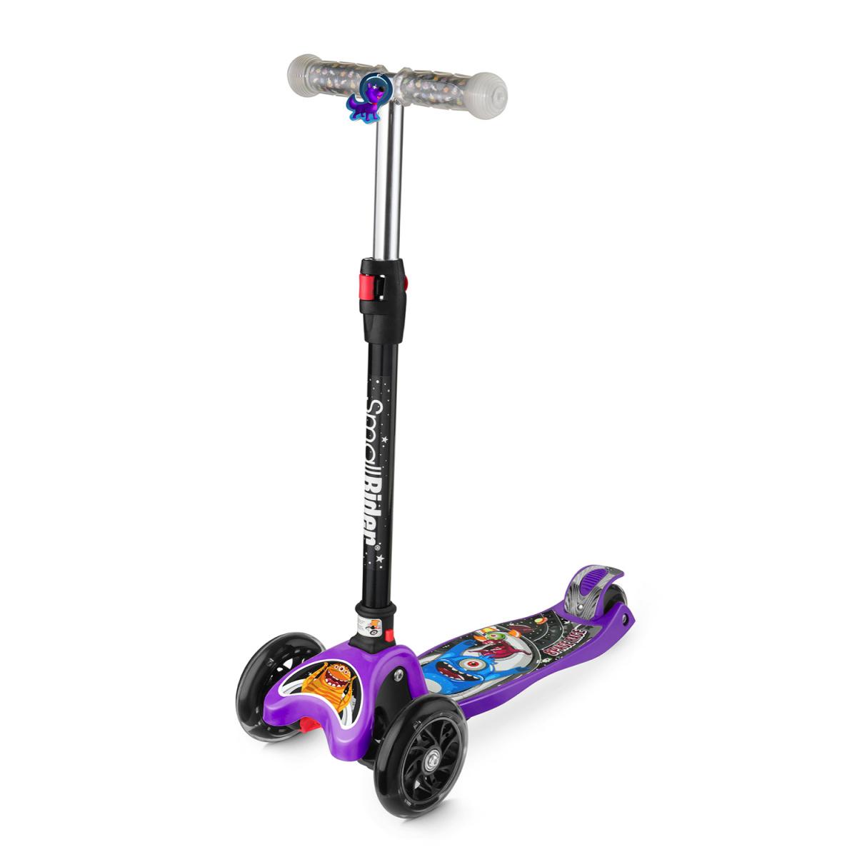 Самокат Small Rider Space Race, 3-колесный, складной, со светящимися колесами, цвет: фиолетовый самокат small rider space race maxi coral