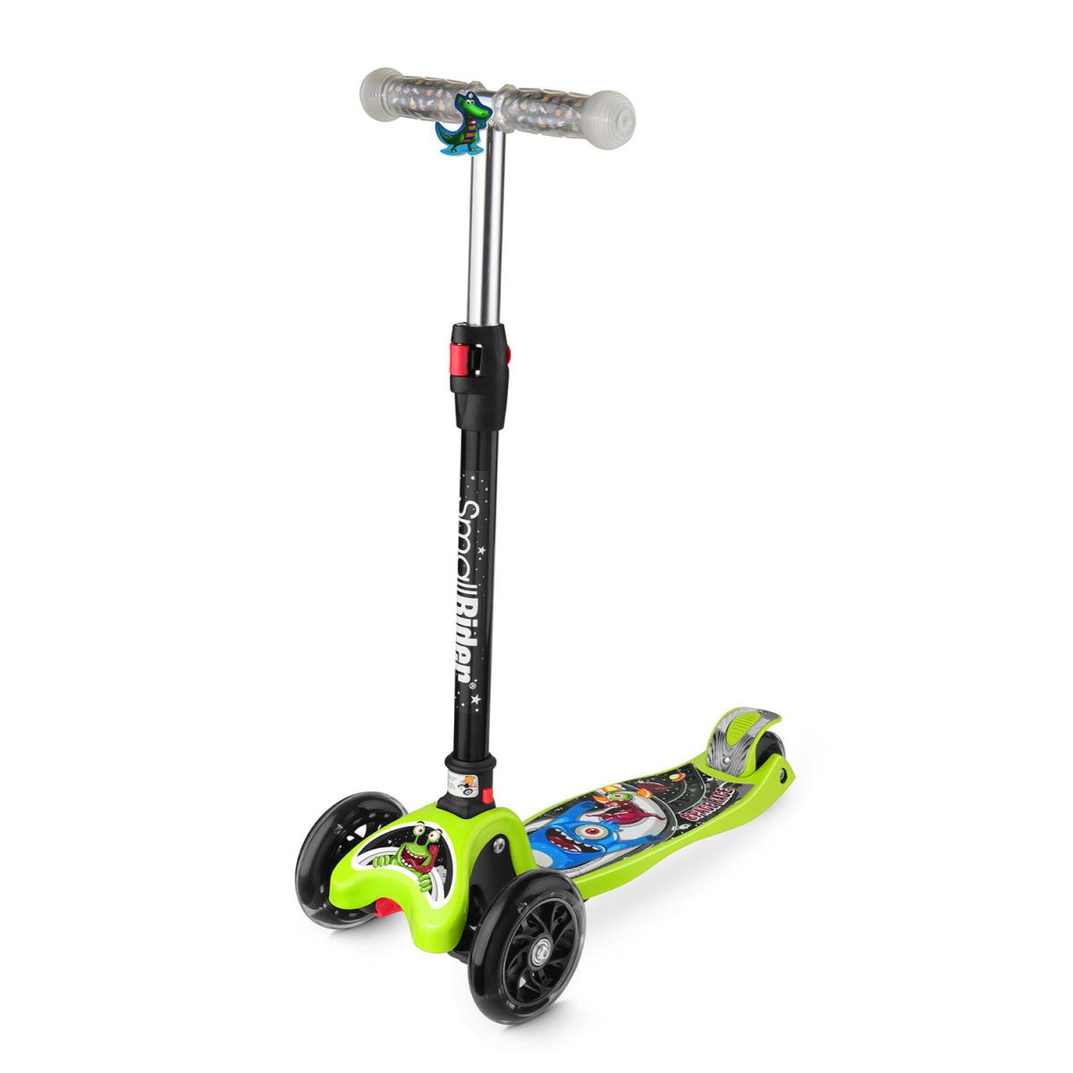 Самокат Small Rider Space Race, 3-колесный, складной, со светящимися колесами, цвет: зеленый самокат small rider space race maxi coral