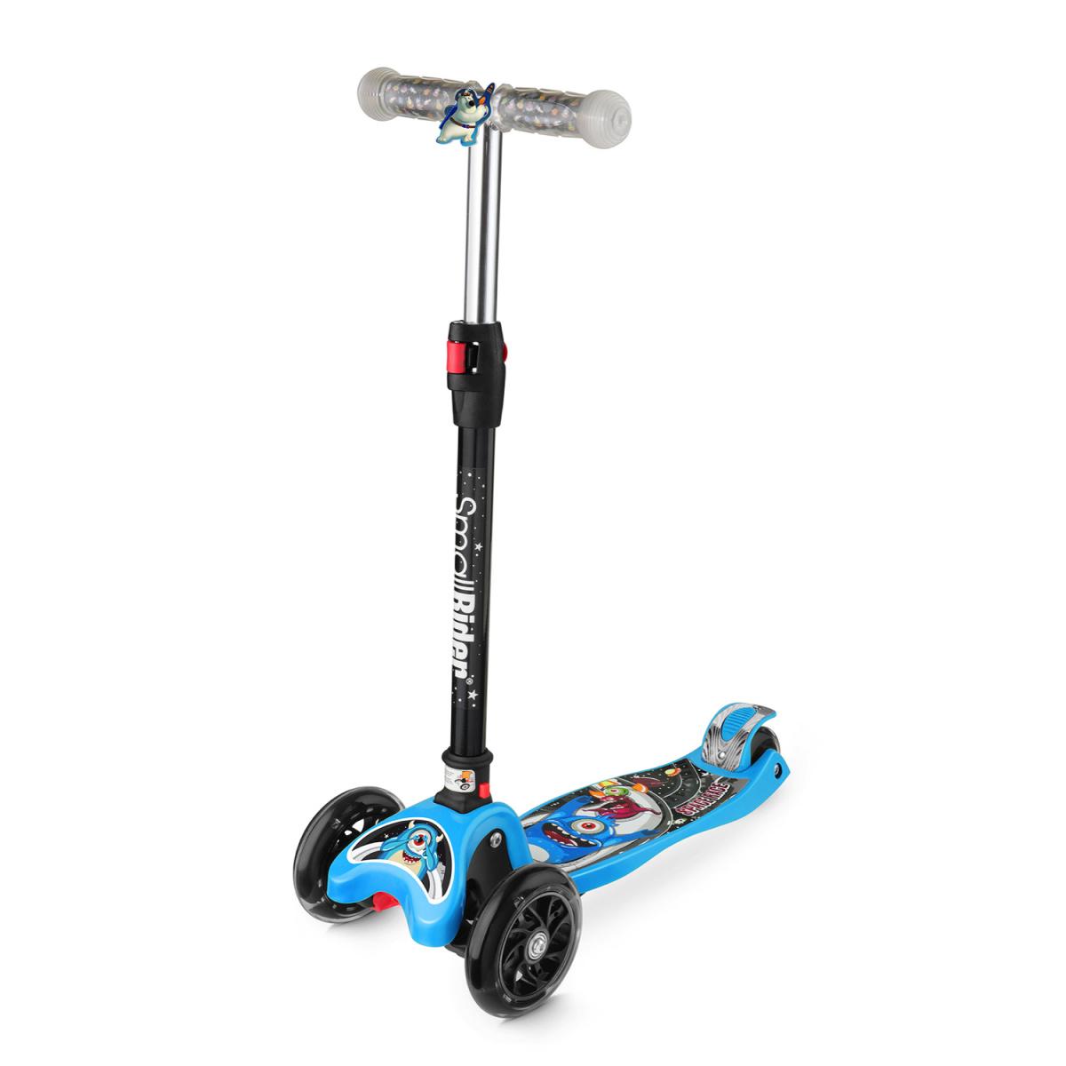Самокат Small Rider Space Race, 3-колесный, складной, со светящимися колесами, цвет: голубой самокат small rider space race maxi coral