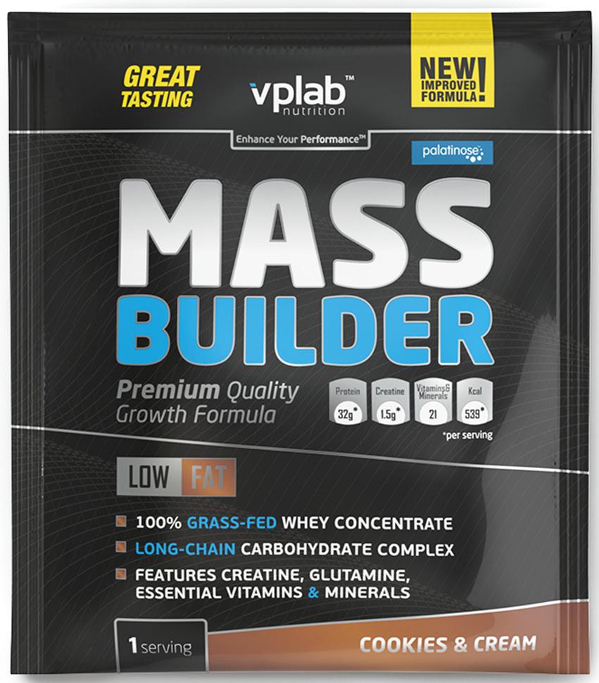 Гейнер VP Laboratory Масс Билдер, печенье, крем, 100 гVP55183Полноценный состав для набора качественной мышечной массы. Представляем новую улучшенную формулу популярного гейнера Mass Builder от VPLab!О продуктеMass Builder от VPLab — сбалансированная углеводно-белковая смесь, быстро завоевавшая популярность у любителей силовых видов спорта. В ее составе есть все, что необходимо для быстрого восстановления после тренировки и качественного роста мышечной массы: сывороточный протеин, сложные углеводы, витамины и минералы, а также креатин!Углеводы обеспечивают тело энергией, протеин — строительным материалом для роста мышц. Но, в отличие от большинства аналогов, в состав Mass Builder входят не просто белок и углеводы, а только качественный сывороточный белок и сложные углеводы!Преимущества нового Mass BuilderТеперь только концентрат сывороточного протеина. Никакой сои; Изомальтулоза — сложный углевод с низким гликемическим индексом; 12 витаминов; 9 минералов; 1,5 г качественного креатина моногидрата. Энергия, полученная от изомальтулозы, в сочетании с креатином, не превращается в жир, но остается в организме и питает организм в течение длительного времени.Витамины и минералы ускоряют восстановительные процессы после тяжелых нагрузок.Известно, что при физической активности потребности организма в белке возрастают примерно на 20%. Сывороточный протеин — отличается высоким содержанием белка и малым содержанием углеводов, жиров и лактозы. Он быстро усваивается и расщепляется на аминокислоты, необходимые для питания мышц и других органов.Важная деталь! Сывороточный белок в гейнере Mass Builder от VPLAB, получен из молока коров травяного откорма. Такой белок имеет наивысшую биологическую ценность, обеспечивает ускоренное восстановление организма и способствует увеличению мышечной массы.Для кого подходитНовый Mass Builder от VPLab рекомендован всем, кто нуждается в приросте массы, кто занимается спортом и просто ведет активный подвижный образ жизни Продукт восполнит нехватку п