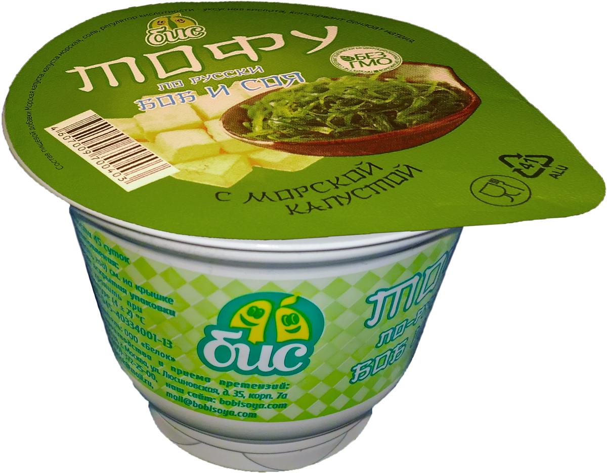 Боб и Соя Тофу по-русски с морской капустой соевый 5%, 150 г боб и соя крем соевый сметанный 10