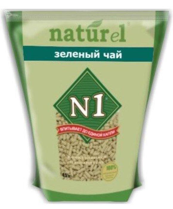 """Наполнитель №1 Naturel """"Зеленый чай"""", для кошачьего туалета, комкующийся, 4,5 л"""