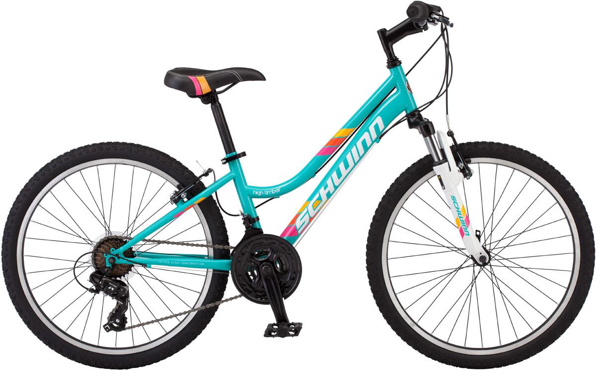 """Велосипед горный Schwinn High Timber 24 Girls, цвет: голубой, рама 14, колесо 2438675244931High Timber 24 – идеальный пример качества и продуманного подхода к созданию подросткового велосипеда для девочек. Выполнен он в голубой цветовой гамме, такой романтичной и модной в этом сезоне. Велосипед оснащен прочной заниженной рамой размером 14, которая позволяет кататься в платье или сарафане и быстро спрыгнуть с велосипеда в непредвиденной ситуации. Седло и руль регулируются по высоте и можно слегка увеличивать ее по мере роста подростка. Амортизационная вилка оснащена подпружиненными пыльниками, которые не пропускают пыль и влагу внутрь, способствуя большему сроку службы вилки.• Прочная заниженная MTB рама размером 14"""" • Амортизационная вилка с подпружиненными пыльниками • Простые в настройке и обслуживании ободные тормоза для любой погоды • Переключатели передач Shimano Tourney • Руль и седло регулируются по высоте и наклону • Защита цепи • Алюминиевые обода • Быстросъёмные колёса на эксцентриковых осях • 21 скорость • Колёса 24 • Подножка в комплекте • Для подростков 9-12 лет • Для роста 125-155см"""