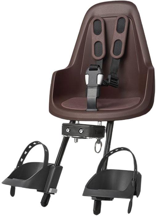 Велокресло переднее Bobike One Mini, крепление на руль, цвет: коричневый велокресло bobike one mini coffee brown