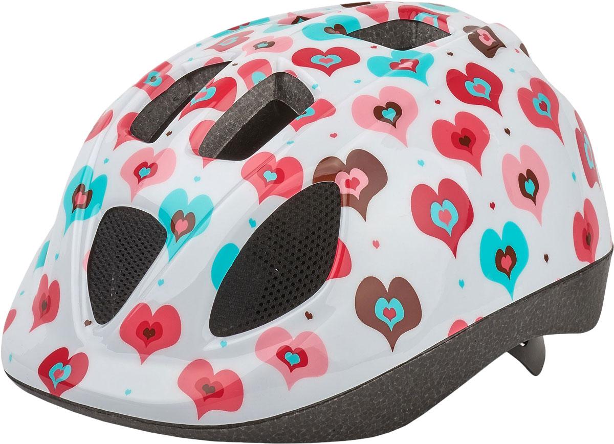 Шлем велосипедный Bobike Kids Hearty, детский, цвет: розовый. Размер S (52-56 см) шлем велосипедный bobike one bahama blue детский цвет голубой размер s 52 56 см