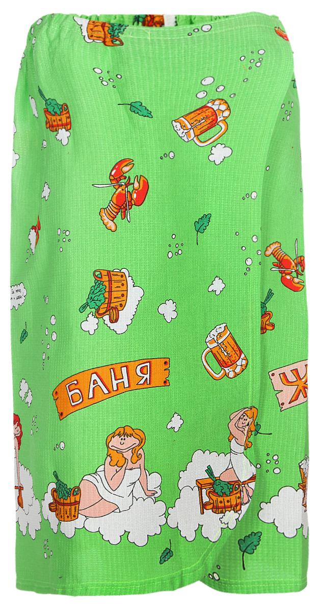 Парео для бани и сауны Невский банщик Баня, цвет: зеленый