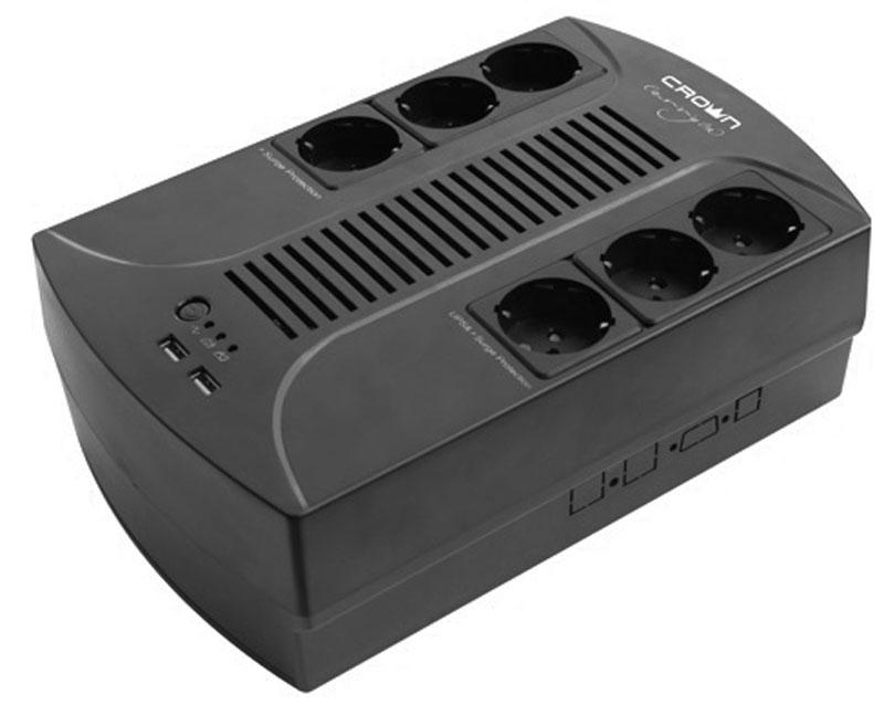 Crown Micro CMUS-265 EURO SMART 650VA\390W ИБПCMUS-265 EURO SMARTЭта модель ИБП подходит для домашнего и офисного использования и защитит ваши данные и оборудование от различных проблем во входной электросети. Верхнее расположение розеток в ИБП предназначего для удобного подклчения Вашей бытовой и оргтехники.