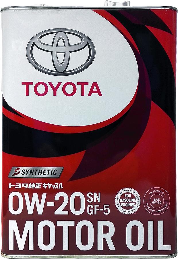 Купить Масло моторное Toyota Motor Oil , синтетическое, SAE 0W-20, API SN/GF-5, 4 л