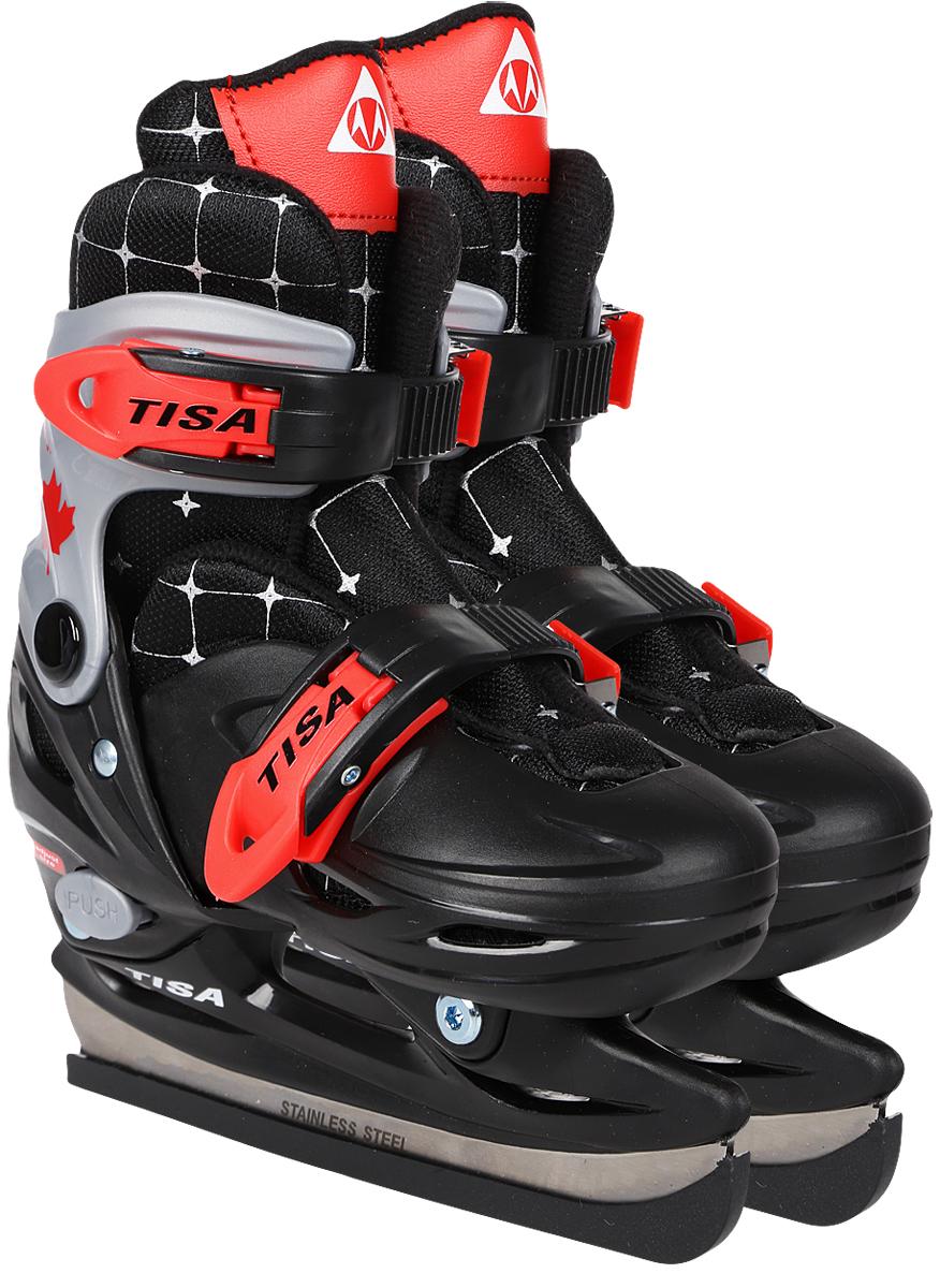 """Коньки раздвижные ледовые для мальчиков Tisa """"Detroit"""", цвет: черный, красный. Размер 27/30"""