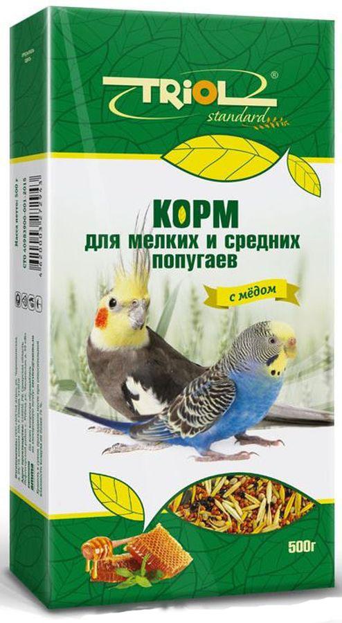 Корм Triol для мелких и средних попугаев, с медом, 500 г корм вака люкс для попугаев для мелких и средних 1 кг