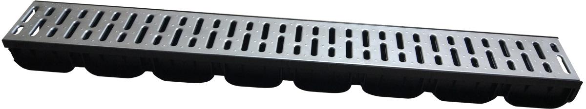 Лоток водоотводной пластиковый, внутреннего сечения DN.100, высотой 70 мм, шириной 125 мм, длиной 1000 мм. Лоток черного цвета идет в комплекте со стальной щелевой решеткой серого цвета классом нагрузки А15, длина решетки 1000 мм. Решетка крепится к лотку защелками. Применяется в плиточном покрытии для сбора и отвода дождевого стока.