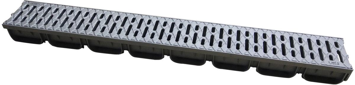 Лоток водоотводной пластиковый, внутреннего сечения DN.100, высотой 70 мм, шириной 125 мм, длиной 1000 мм. Лоток серого цвета идет в комплекте с пластиковой щелевой решеткой серого цвета классом нагрузки А15, длина решетки 1000 мм. Решетка крепится к лотку защелками. Применяется в плиточном покрытии для сбора и отвода дождевого стока.